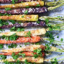 Roasted Maple Parmesan Carrots