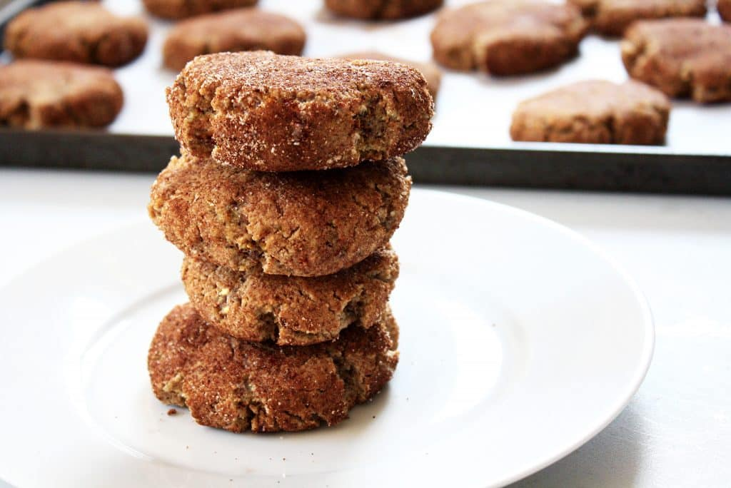 four-low-carb-snickerdoodle-cookies-stacked