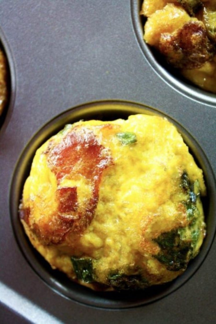 3-Ingredient Bacon & Egg Breakfast Muffins in muffin tins