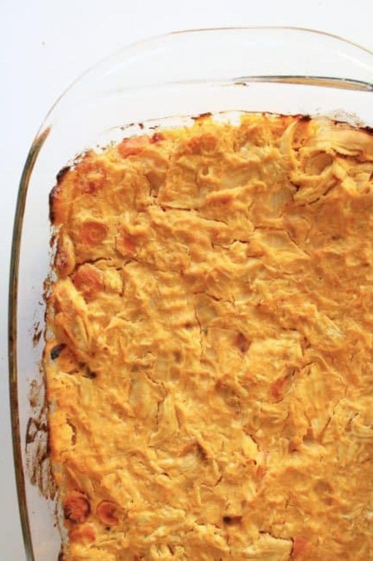 Buffalo Chicken Casserole in a glass baking dish