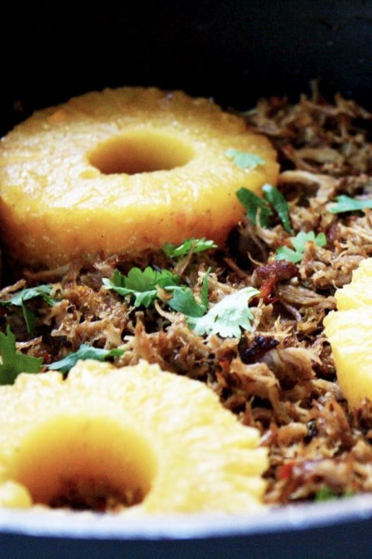 Pressure Cooker Low-FODMAP Citrus Carnitas with pineapple rings