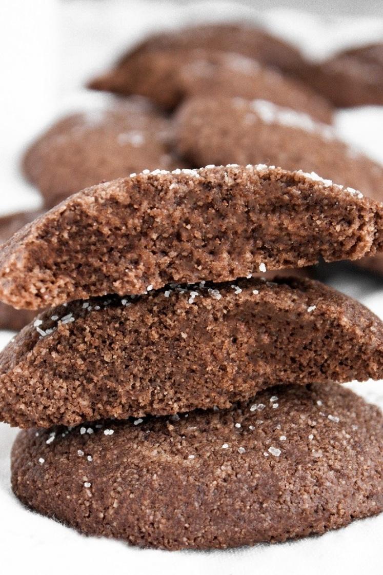 Keto Chocolate Sea Salt Cookies stacked together