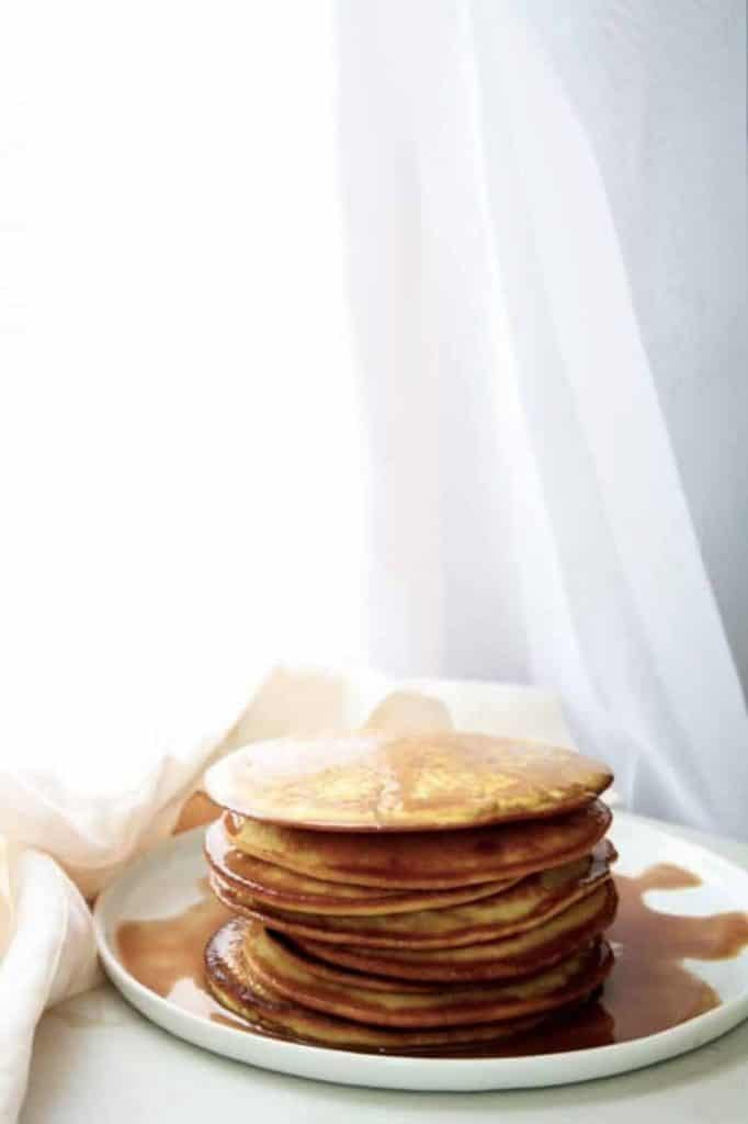 a stack of Low-Carb Pancakes recipe post featured image