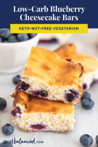 Low-Carb Blueberry Cheesecake Bars recipe revised pinterest image