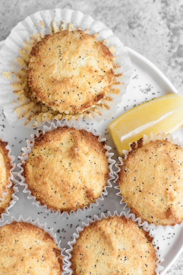 overhead hero shot of keto lemon poppy seed muffins