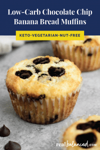 Low-Carb Chocolate Chip Banana Bread Muffins pinterest pin