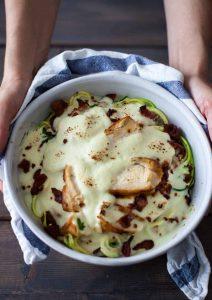 chicken paleo alfredo bake in a bowl