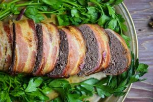 sliced bacon wrapped meatloaf