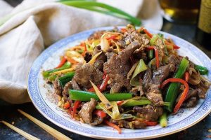 a plate of paleo mongolian beef