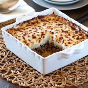 healthy shepard's pie in a square baking dish
