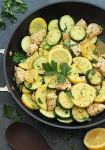whole30 lemon chicken and squash skillet