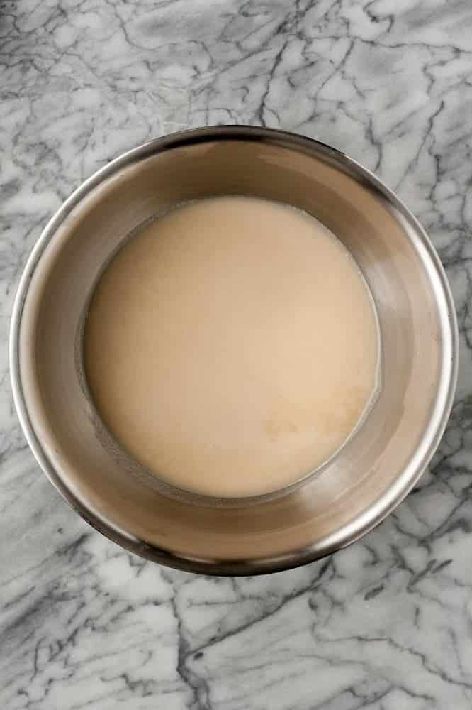 coconut oil, coconut butter, golden monk fruit sweetener, coconut flour, vanilla extract, cream of tartar, and baking soda mixed together in a stainless steel mixing bowl