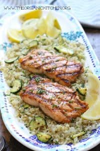 grilled salmon with cauliflower rice and lemon slices