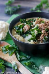 low carb keto zuppa toscana with cauliflower