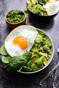 pesto cauliflower rice breakfast bowls