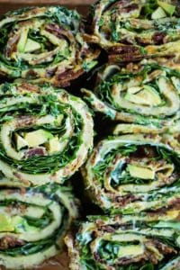 bacon basil and greens egg roll ups