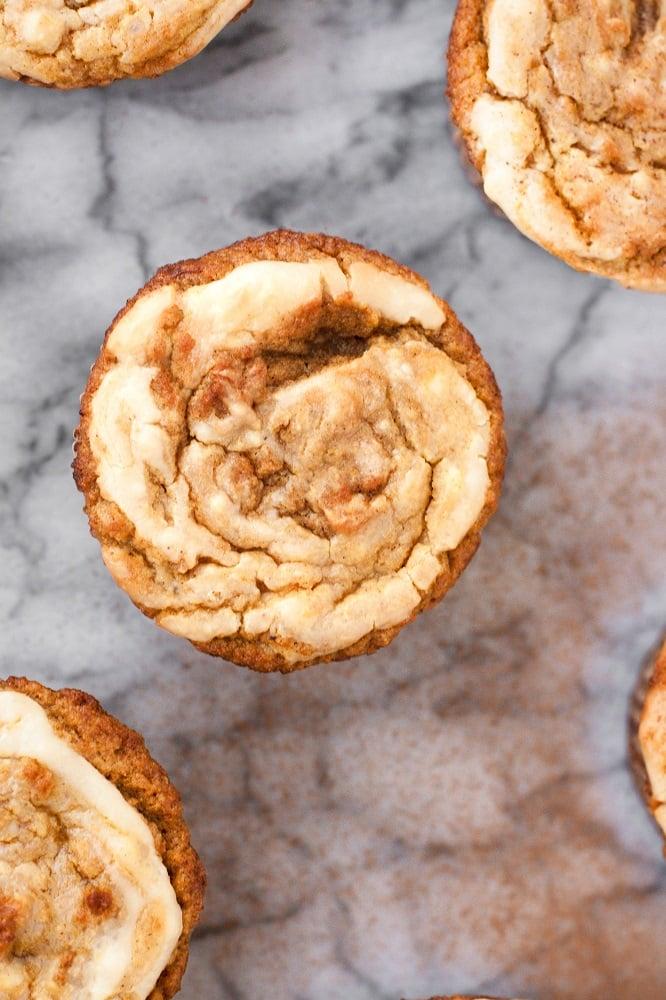 overhead-shot-of-Cream-Cheese-Pumpkin-Muffins-on-marble-board