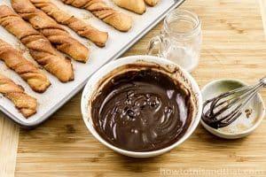 keto fathead churros with chocolate dip
