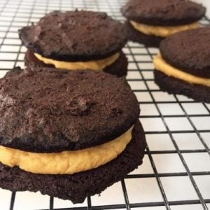 low carb chocolate peanut butter whoopie pies on a cooling rack