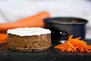 instant pot keto carrot cake beside shredded carrots