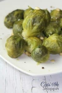 instant pot brussels sprouts on a plate