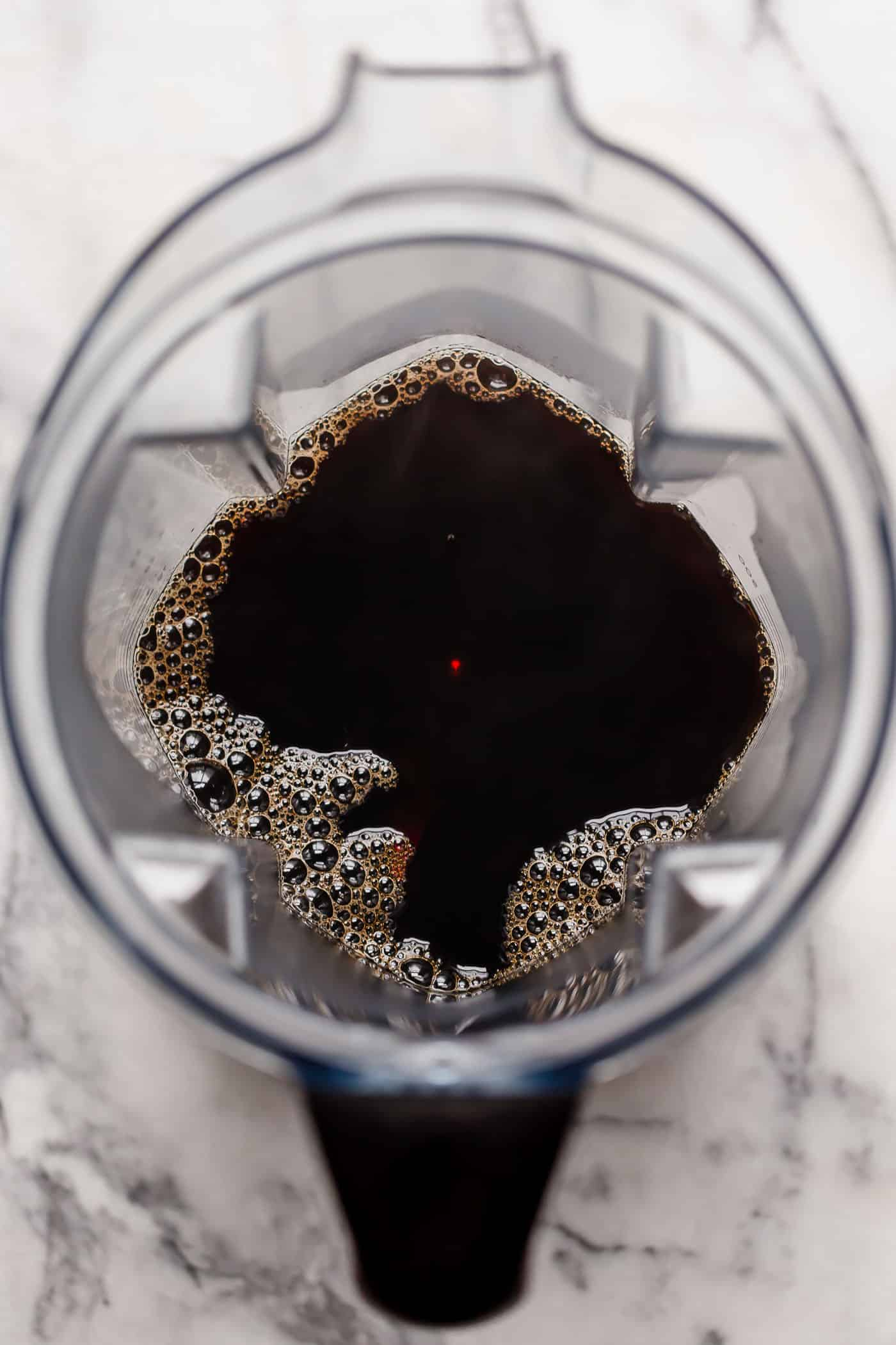 hot black coffee in a blender