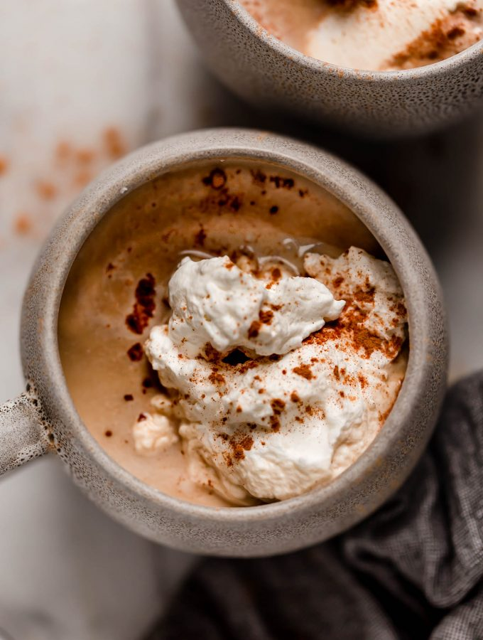 overhead shot of a mug of cinnamon dolce latte