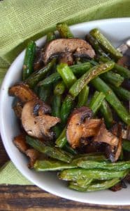 a serving of Garlic Roasted Green Beans and Mushrooms