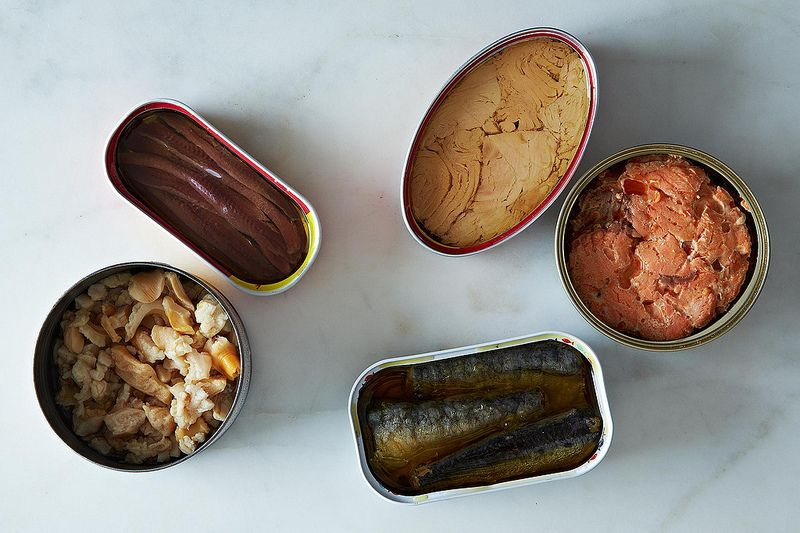 five varieties of canned fish