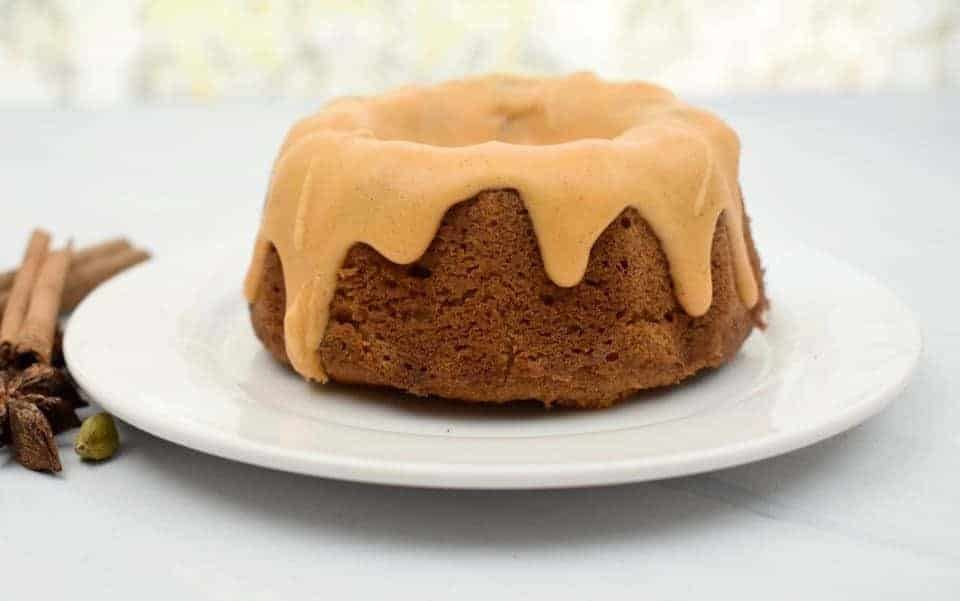Keto Pumpkin Cream Cheese Pound Cake on a ceramic plate