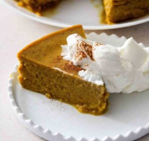 a slice of pressure cooker keto low carb pumpkin pie pudding on a plate