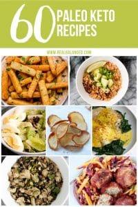 pinterest graphic for 60 paleo keto recipes roundup
