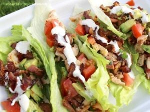 Chicken, Bacon, Avocado Ranch Lettuce Wraps