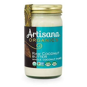 a jar of artisana organics raw coconut butter