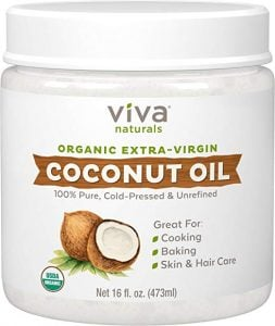 a tub of viva naturals coconut oil