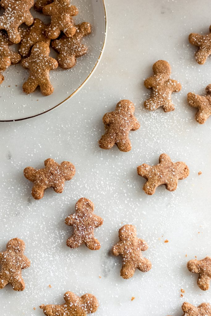 gingerbread cookies spread across a marble counter some on a white ceramic saucer dusted with lakanto sweetener