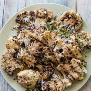 grilled cauliflower with parmesan top view