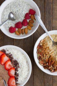 3 bowls of keto overnight oats