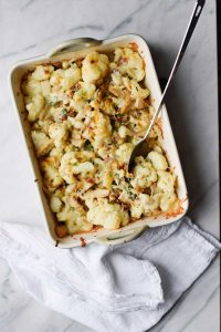 pan of loaded cauliflower & chicken casserole