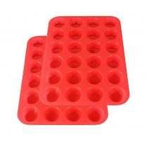 two red Silicone Mini Muffin Mold (24-cavity)