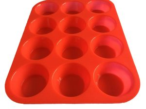 one red Silicone mold (12-cavity muffin)