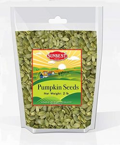 a bag of Sunbest Shelled Unsalted Raw Pumpkin Seeds
