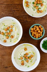 three bowls of quick cauliflower soup