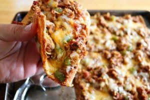Keto BBQ Pulled Pork Fathead Pizza