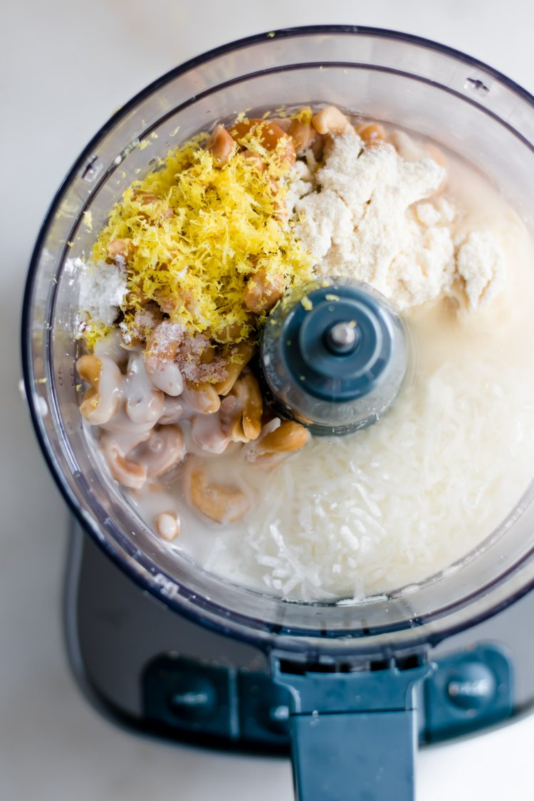 lemon bar fat bomb ingredients poured into a food processor