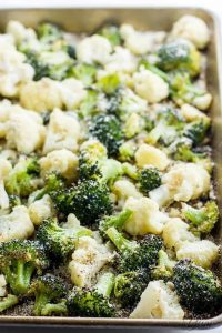 roasted broccoli cauliflower with parmesan and garlic from wholesome yum