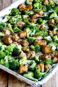 Sheet pan with Sesame Chicken and Broccoli