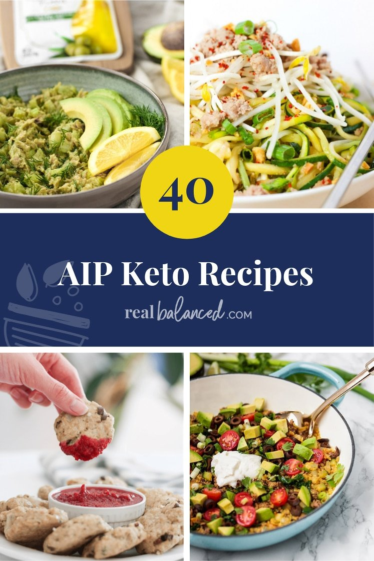 Pinterest graphic for 40 AIP Keto Recipes