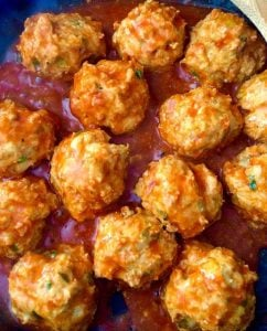 Closeup of buffalo chicken meatballs