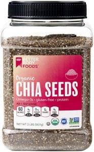 a container full of organic chia seeds